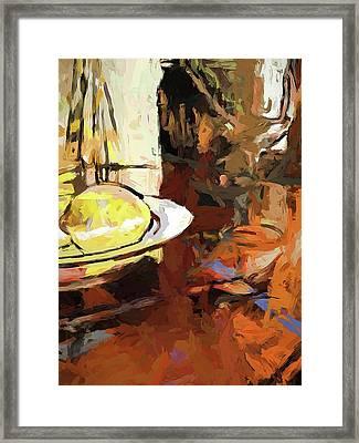 Lemon Bowl Wine Glass Fork Framed Print