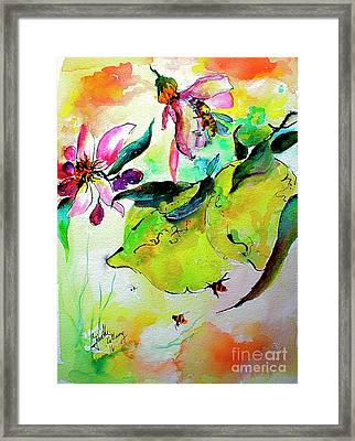 Framed Print featuring the painting Lemon Garden Blossoms And Bees by Ginette Callaway
