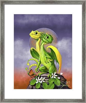 Framed Print featuring the digital art Lemon Lime Dragon by Stanley Morrison