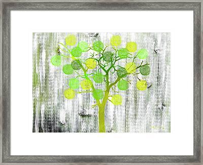 Lemon Lime Rustic Tree Art Framed Print