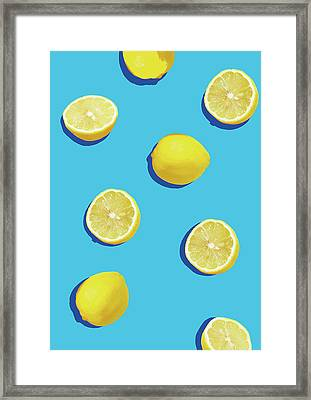 Lemon Pattern Framed Print