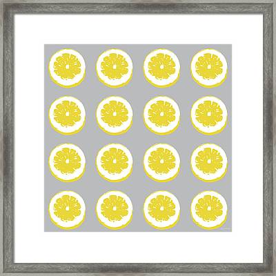 Lemon Slices On Grey- Art By Linda Woods Framed Print