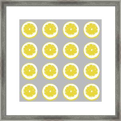 Lemon Slices On Grey- Art By Linda Woods Framed Print by Linda Woods