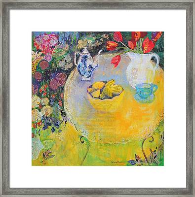 Lemon Tea In The Garden Framed Print by Sylvia Paul
