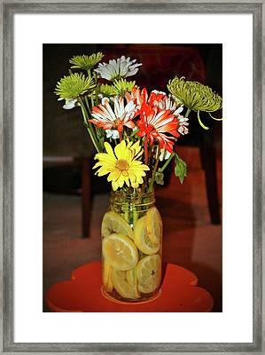 Lemon Water For Flowers Framed Print by Cynthia Guinn