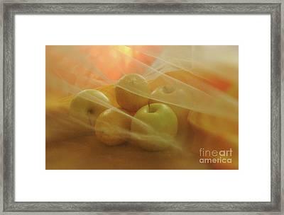Lemons And Apples In Drifting Fabric Framed Print