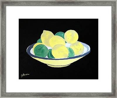 Lemons And Limes In Bowl Framed Print