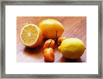 Lemons And Peppers Framed Print by Jeff Kolker