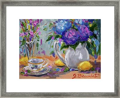 Framed Print featuring the painting Lemons And Purple  by Jennifer Beaudet