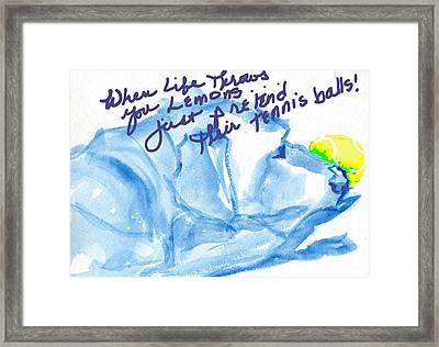 Lemons And Tennis Balls Framed Print by Sheila Wedegis