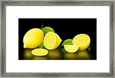 Lemons-black Framed Print by Veronica Minozzi