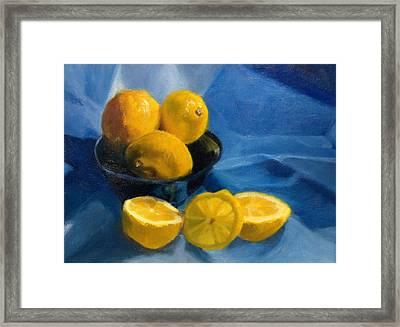 Lemons In Blue Bowl Framed Print by Stephanie Allison