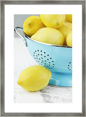 Lemons In Blue Framed Print by Stephanie Frey