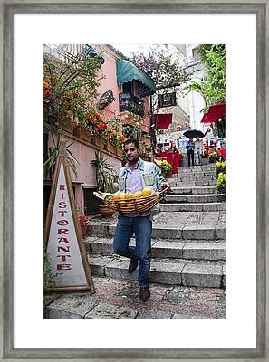 Lemons In Taormina Sicily Framed Print by David Smith