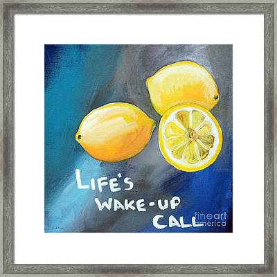 Lemons Framed Print by Linda Woods