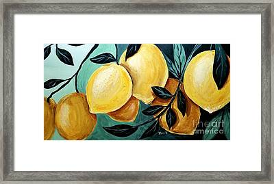 Framed Print featuring the painting Lemons by Maria Langgle