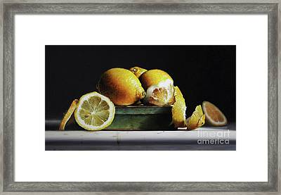 Lemons On A Tin Framed Print