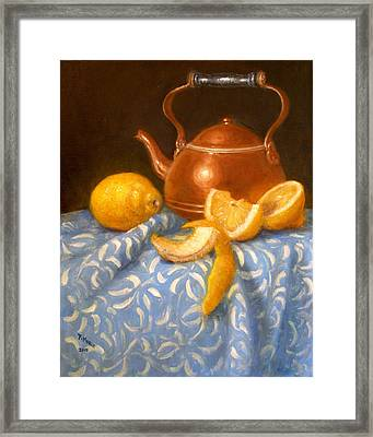 Lemons With Copper Teapot Framed Print by Donelli  DiMaria