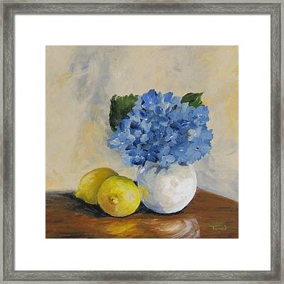 Lemons With Hydrangea Framed Print by Torrie Smiley