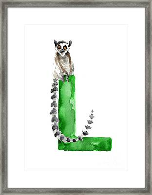 Lemur Watercolor Alphabet Painting Framed Print