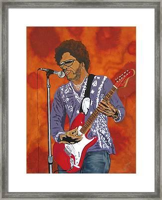 Lenny Kravitz-the Rebirth Of Rock Framed Print by Bill Manson