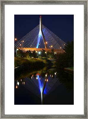 Lenny Zakim Bridge Reflection Boston Ma Framed Print by Toby McGuire