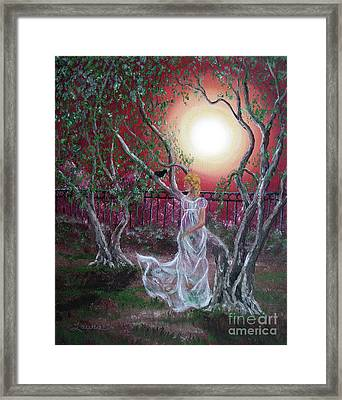 Lenore By An Olive Tree Framed Print by Laura Iverson