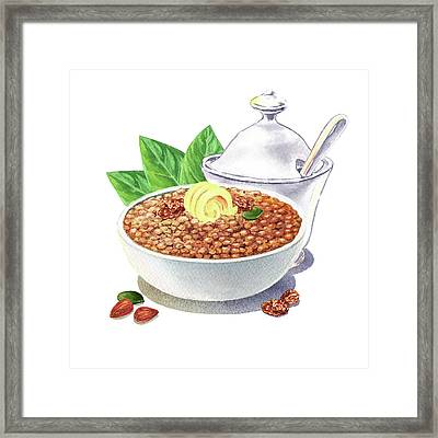 Framed Print featuring the painting Lentil Soup Watercolor Food Illustration by Irina Sztukowski