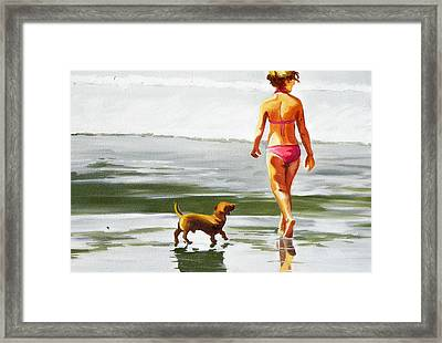 Leo And Kara On The Shore Framed Print by Rhondda Saunders