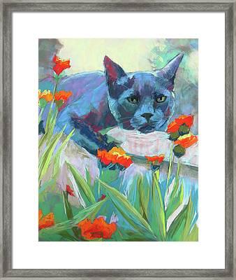 Leo In The Flowers Framed Print