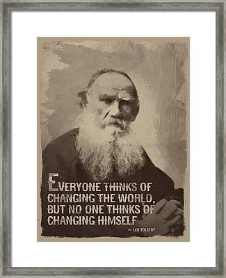 Leo Tolstoy Quote Framed Print by Afterdarkness