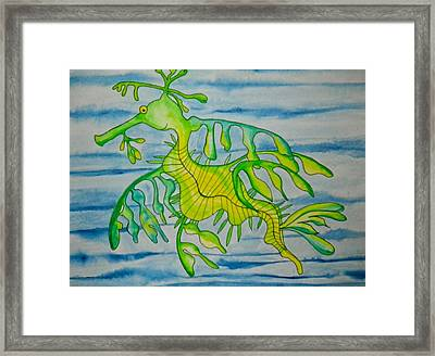 Leon The Leafy Dragonfish Framed Print by Erika Swartzkopf