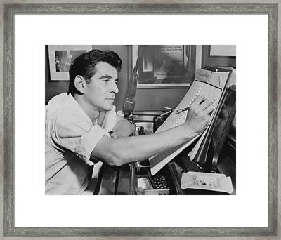 Leonard Bernstein 1918-1990, Seated Framed Print by Everett