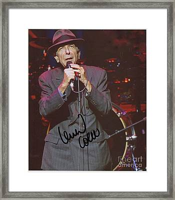 Leonard Cohen Autographed Framed Print by Pd