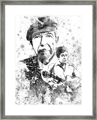 Leonard Cohen Black-white Framed Print by Aged Pixel