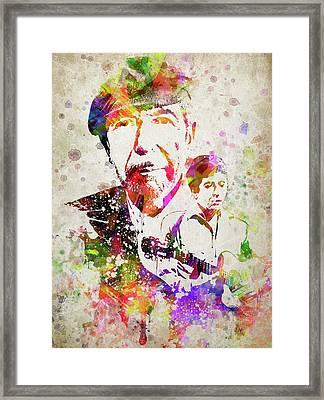 Leonard Cohen Color Framed Print by Aged Pixel