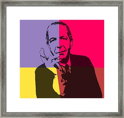 Leonard Cohen Pop Art Panels Framed Print by Dan Sproul