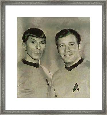 Leonard Nimoy And William Shatner, Star Trek Vintage Framed Print