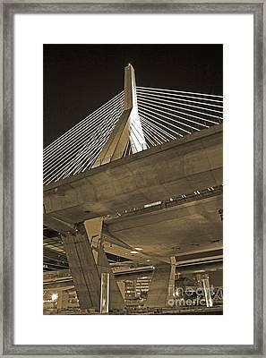 Leonard P. Zakim Bunker Hill Bridge In Sepia Framed Print