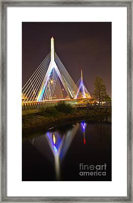 Leonard P. Zakim Bunker Hill Bridge Reflection Framed Print