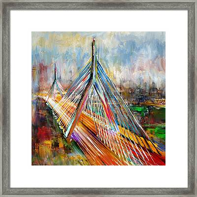 Leonard P. Zakim Bunker Hill Memorial Bridge 219 1 Framed Print by Mawra Tahreem