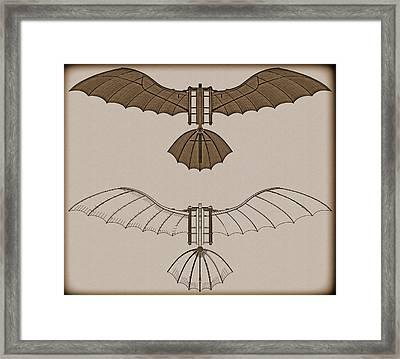 Leonardo Da Vinci Antique Flying Machine Framed Print by Nenad Cerovic