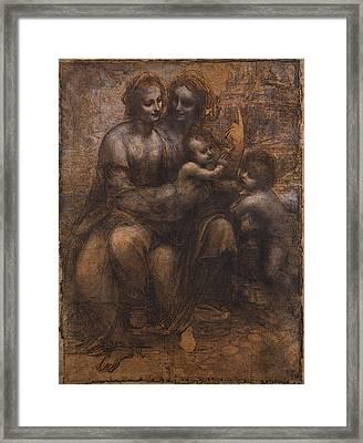 Leonardo Da Vinci Cartoon Of The Virgin And Child With St Anne And St John Framed Print