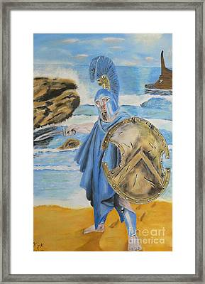 Framed Print featuring the painting Leonidas King Of The Spartans   by Eric Kempson