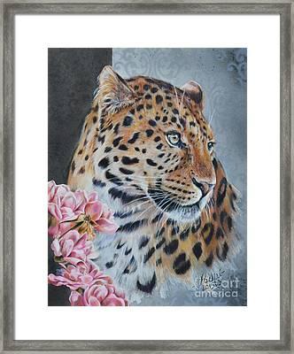 Leopard And Roses Framed Print