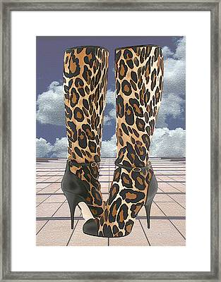 Leopard Boots With Ankle Straps Framed Print by Elaine Plesser