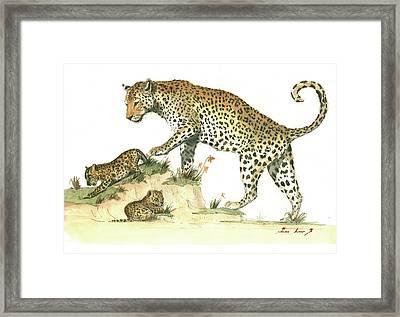 Leopard Family Framed Print by Juan Bosco