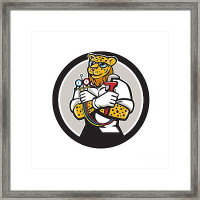 Leopard Heating Specialist Mechanic Circle Cartoon Framed Print