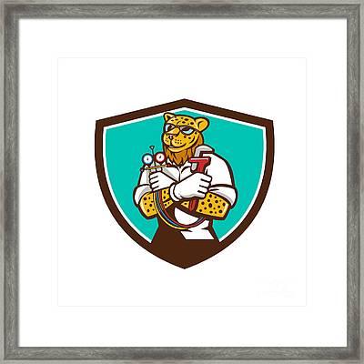 Leopard Heating Specialist Mechanic Shield Cartoon Framed Print