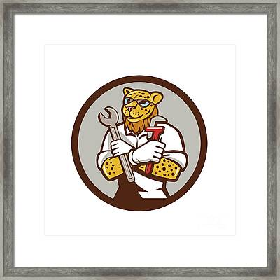 Leopard Mechanic Spanner Monkey Wrench Circle Cartoon Framed Print by Aloysius Patrimonio
